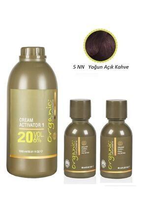 Organic Colour Systems 5nn Yoğun Açık Kahve 60 Ml - 2 Adet + Aktıvator 20 Vol 1000 Ml - 1 Adet 0