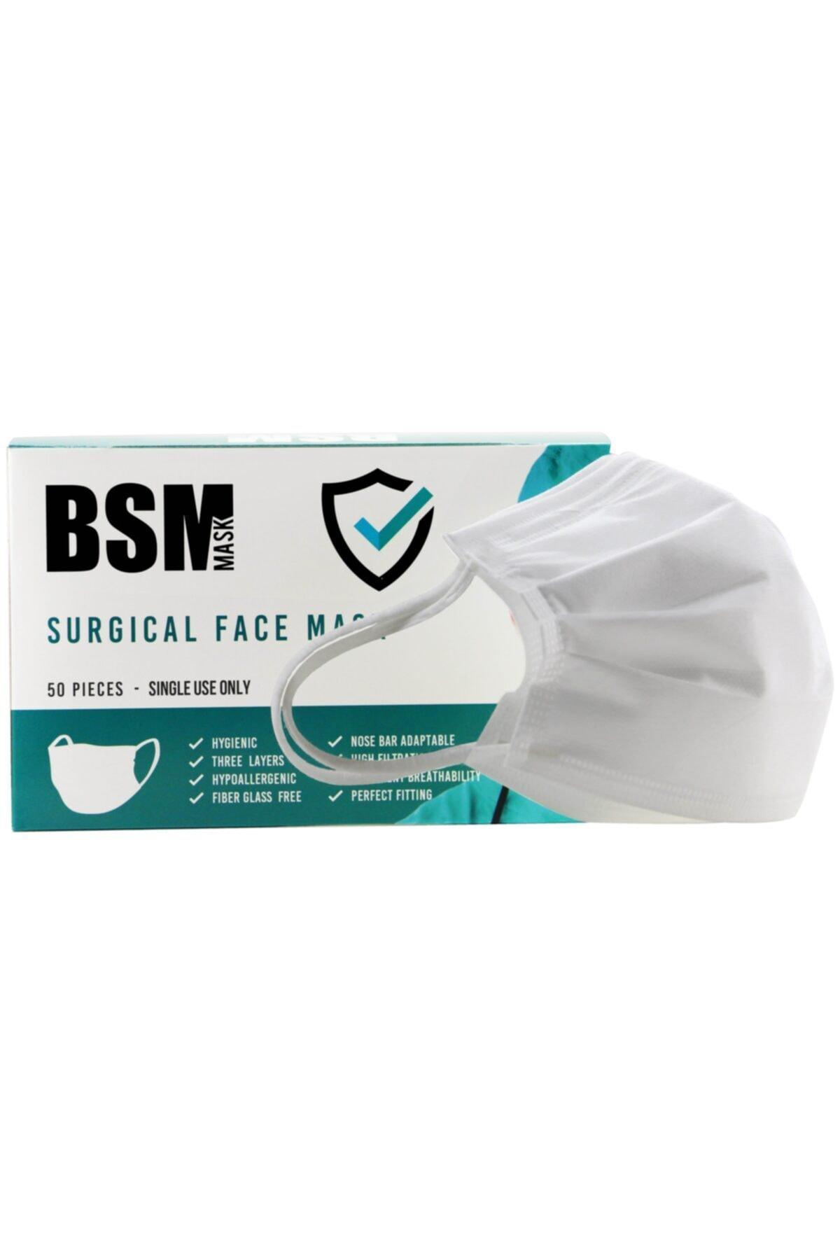 Beyaz 3 Katlı Yassı Lastikli Meltblown Cerrahi Maske Toplam 50 Adet
