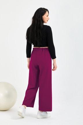 Gentekstil Kadın Fuşya Bel Lastikli Genplus Rahat Kesim Pantolon 3
