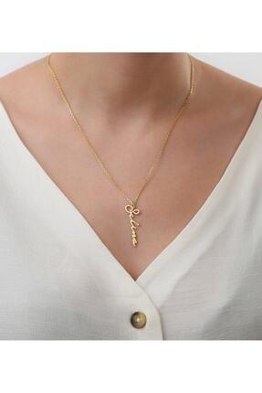 ernsilver Kadın Altın Özel Tasarım Dikey Isimli 925 Ayar Gümüş Kolye, Altın Kaplama 1