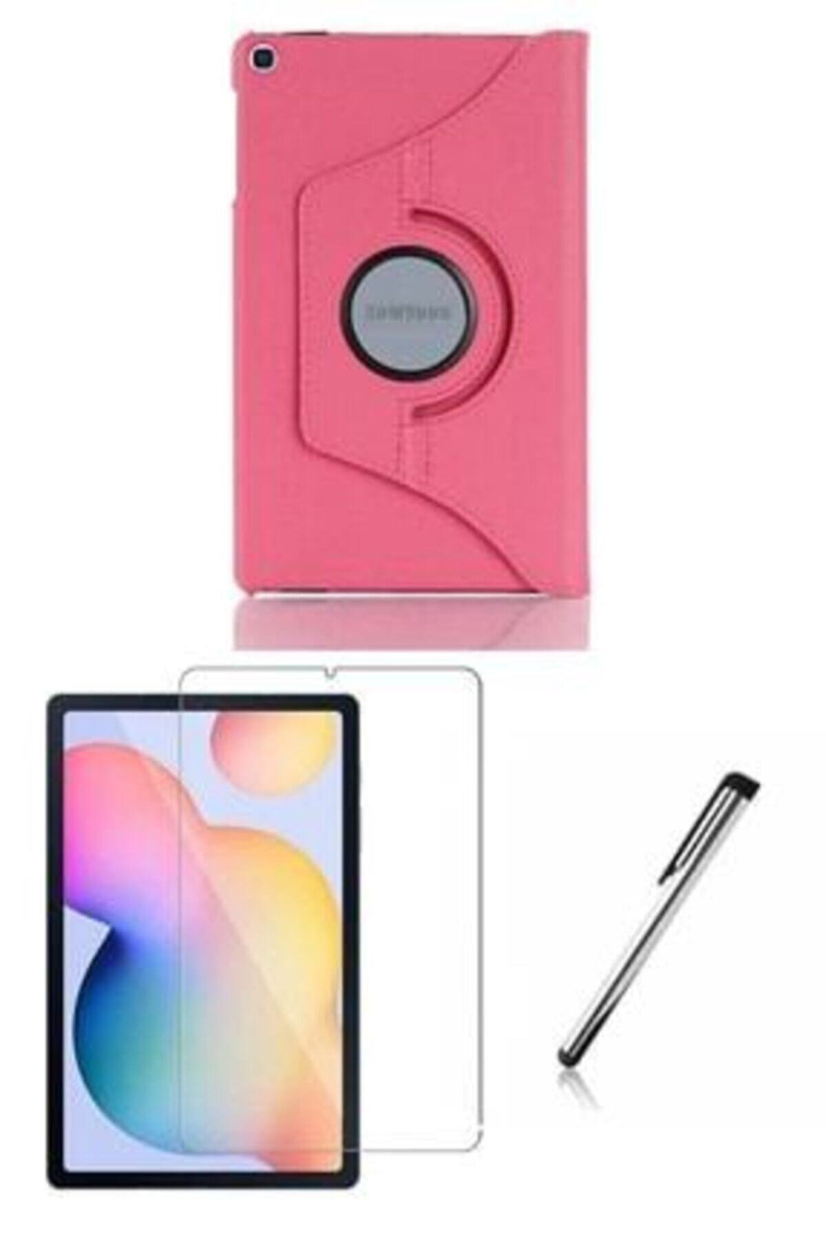 Galaxy Tab S6 Lite P610 / P615 / P617 Pembe Dönebilen Standlı Kılıf Set