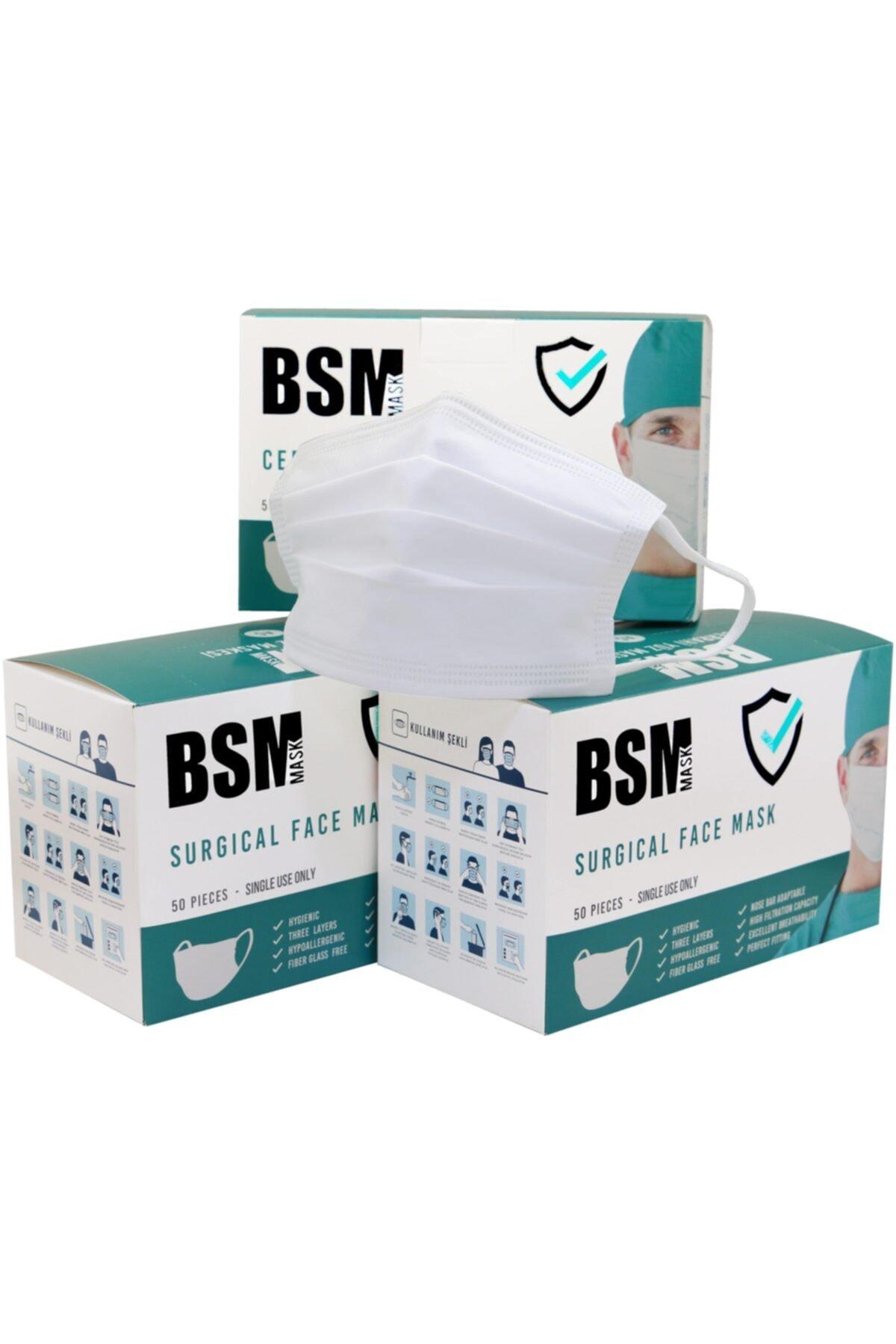 Beyaz 3 Katlı Yassı Lastikli Meltblown Cerrahi Maske Toplam 150 Adet