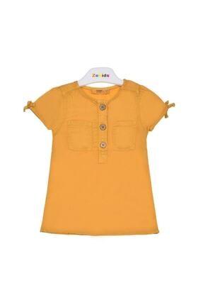 Picture of Address Butik Kız Bebek Sarı Yarım Üç Düğmeli Cepli Elbise