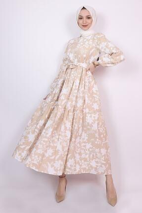 ENDERON Beyaz Çiçekli Kloş Tesettür Mevsimlik Elbise 1