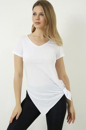 Vis a Vis Kadın Beyaz V Yaka Yırtmaçlı Uzun Tshirt 1