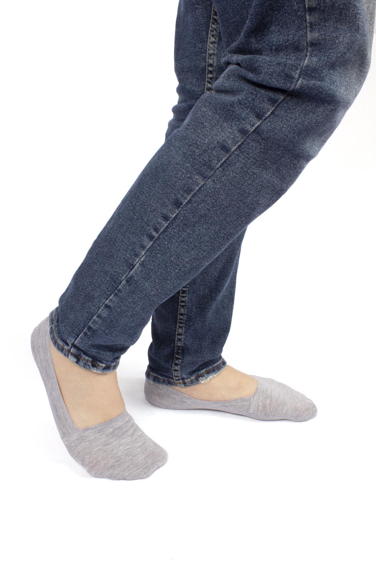 Dr.socks Erkek Gri Ayaktan Çıkmaz Penye Babet Çorap Basic Kenarları Şerit Silikon Detaylı Görünmez
