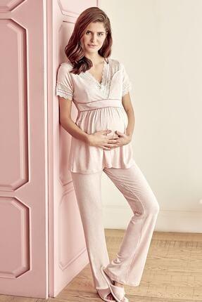 Anıl Kadın Pembe Pijama Hamile Lohusa Pamuklu Sabahlık Üst Pantolon 3'Lü Takım Anıl 9603 1