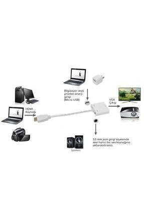 Santa Maria Jewels Hdmi To Vga Kablo Çevirici Dönüştürücü Ses Uydu Receiver Ps3 Ps4 Micro Usb Güç 3