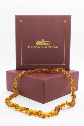 STONE CAPSULE Karamel (Cognac) Renk Parlak Barok Baltık Kehribar Bebek Diş Kolyesi (33 cm) (Unisex) 1