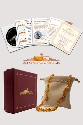 STONE CAPSULE Karamel (Cognac) Renk Parlak Barok Baltık Kehribar Bebek Diş Kolyesi (33 cm) (Unisex) 3