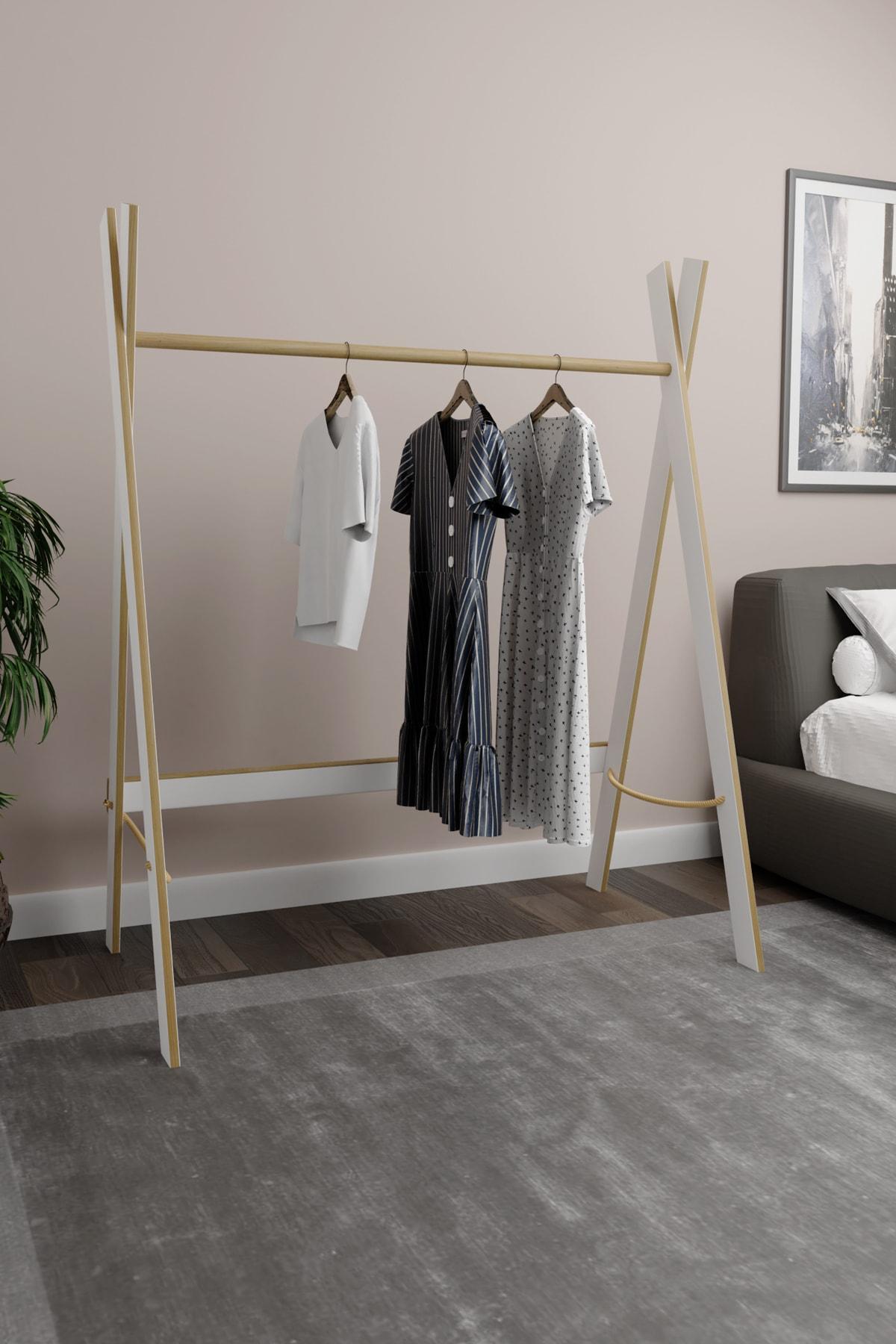 Ahşap Beyaz Mdf 120 Cm Elbise Askılığı Portmanto Ayaklı Askılık