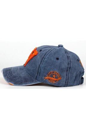 DMONA Unisex Lacivert Taşlı Eskitme W Şapka 1