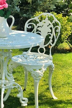 VOLSER GARDEN Güllü Kolluz Yuvarlak Masa Takımı Beyaz Paslanmaz Döküm Sandalye Alimunyum Masa 2