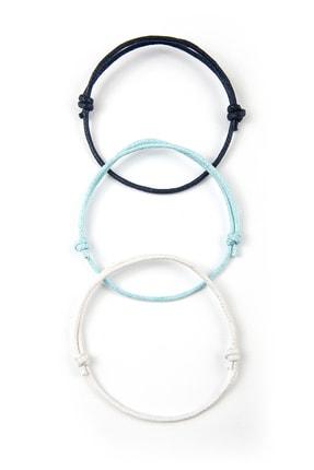 Chill & Feel 3lü Kalın Ayarlanabilir Ip Bileklik - Lacivert, Mavi, Beyaz 1