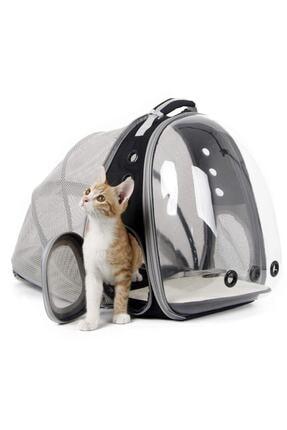 Tina Fileli Açılabilir Şeffaf Astronot Kedi Köpek Evcil Hayvan Taşıma Çantası Siyah 2