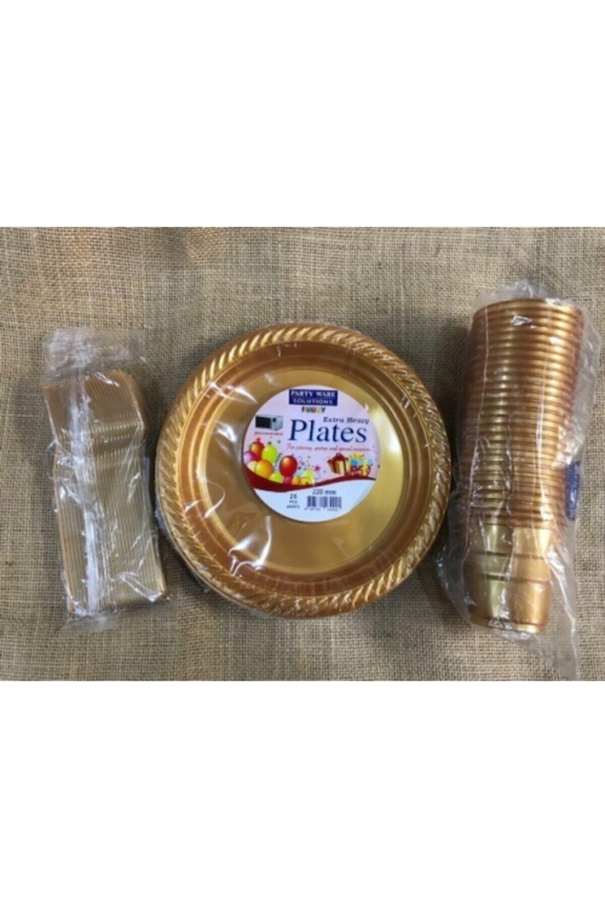 Gold Altın Tabak Bardak Çatal Set Plastik 25 Kişilik
