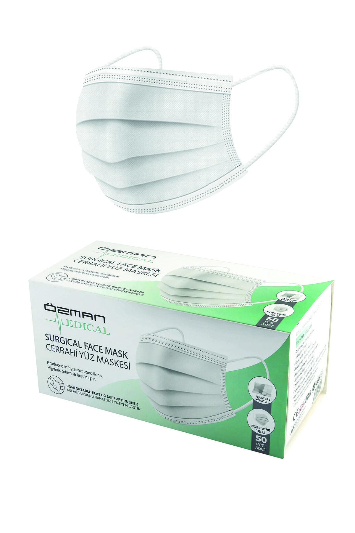 Üç Katlı Telli Beyaz Cerrahi Maske 50 Adet