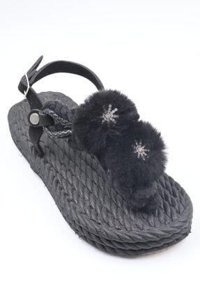 6078 Siyah Hasır Kadın Sandalet PSG20-6078-1