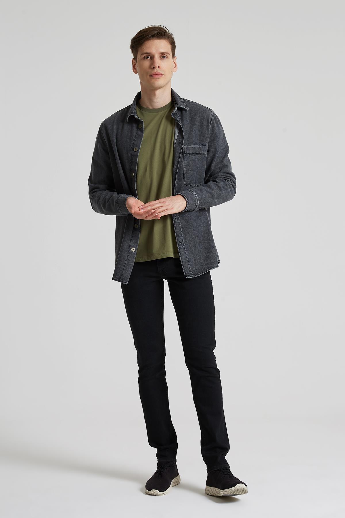 Erkek Siyah Slim Straight Normal Bel Jean Pantolon E 4403-010