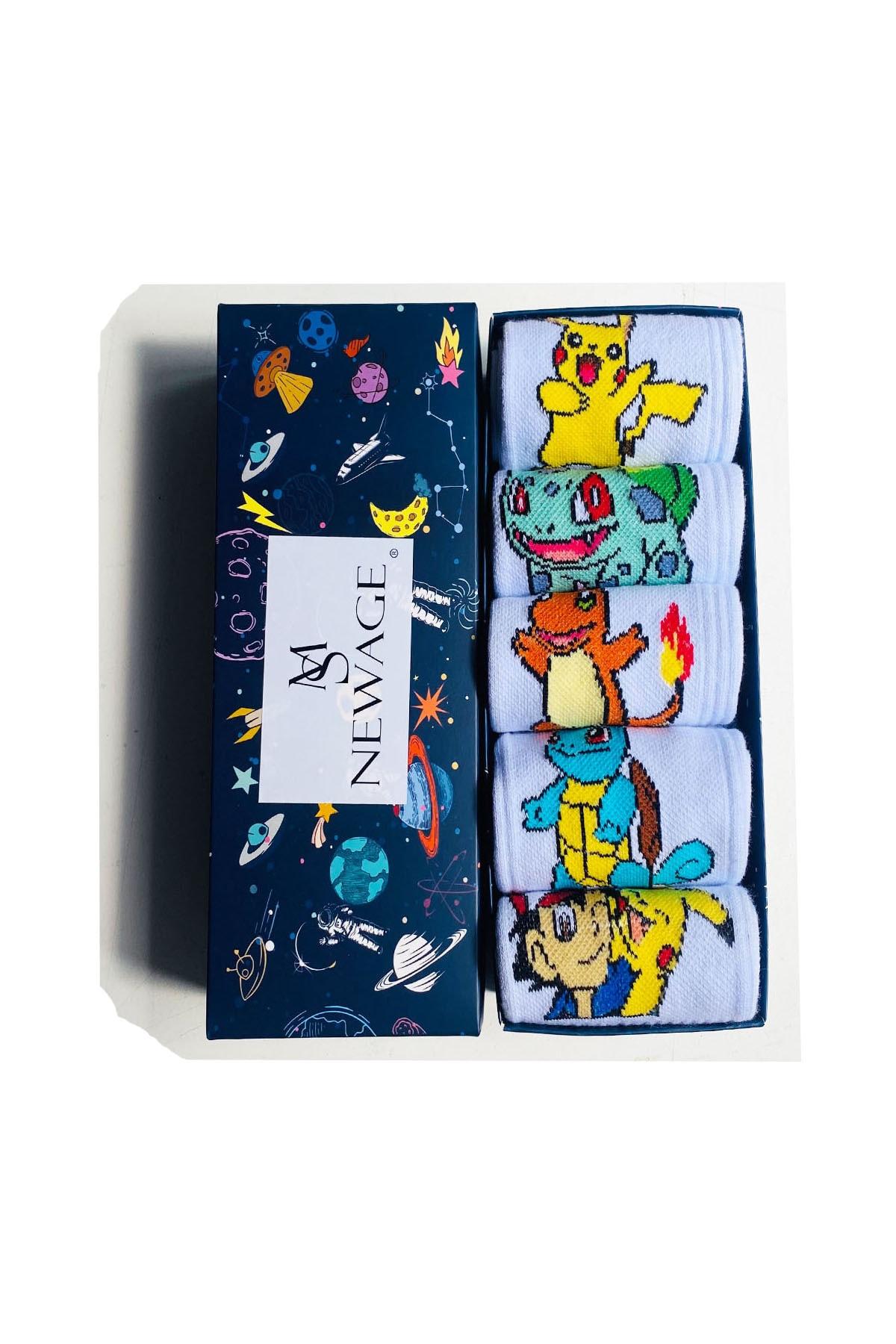 5'li Pokemon Karakterleri Desenli Renkli Çorap Seti