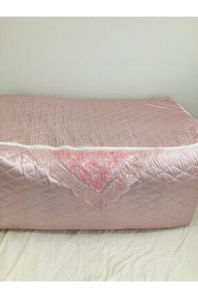 Işık Tekstil Yorgan Hurcu Incili Saten Çeyizlik Pudra Rengi 2 Adet 50x50x100 Ölçü Büyük Boy 1