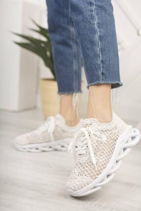 McDark Kadın Beyaz Dantelli Sneaker 1