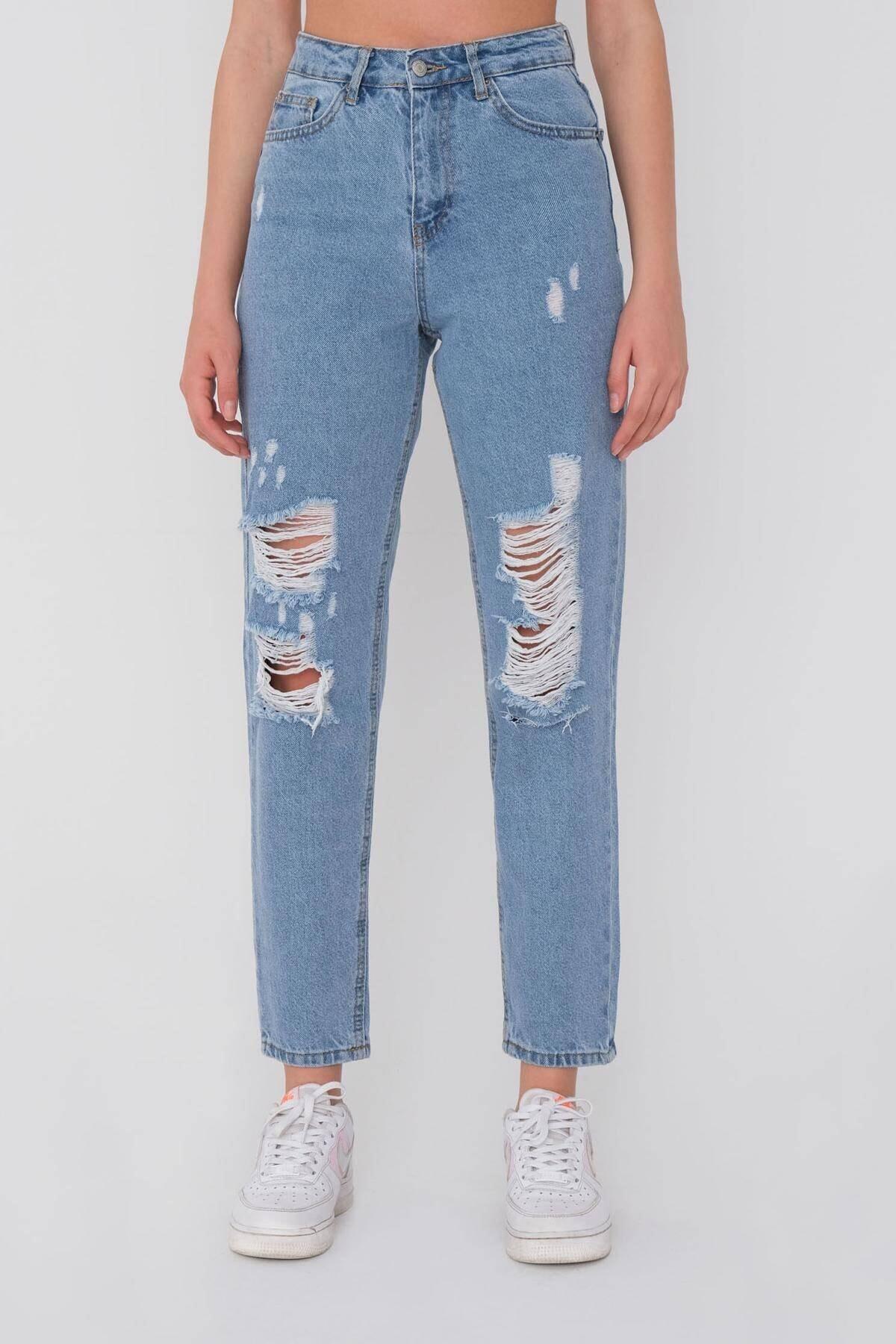 Kadın Kot Rengi Yırtık Detaylı Pantolon Pn6481- Pnn ADX-0000021037