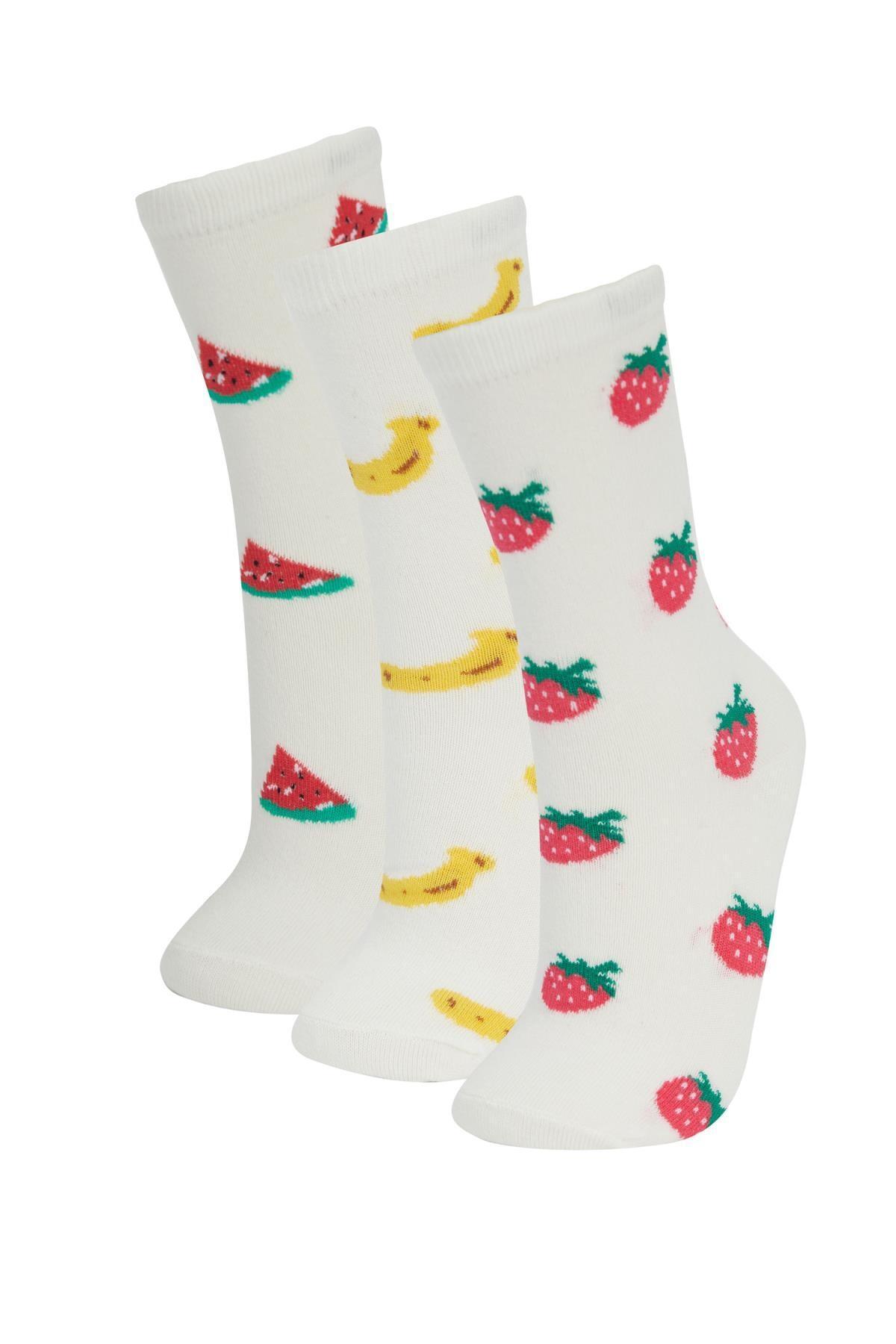 Defacto Meyve Desenli 3'lü Soket Çorap 0