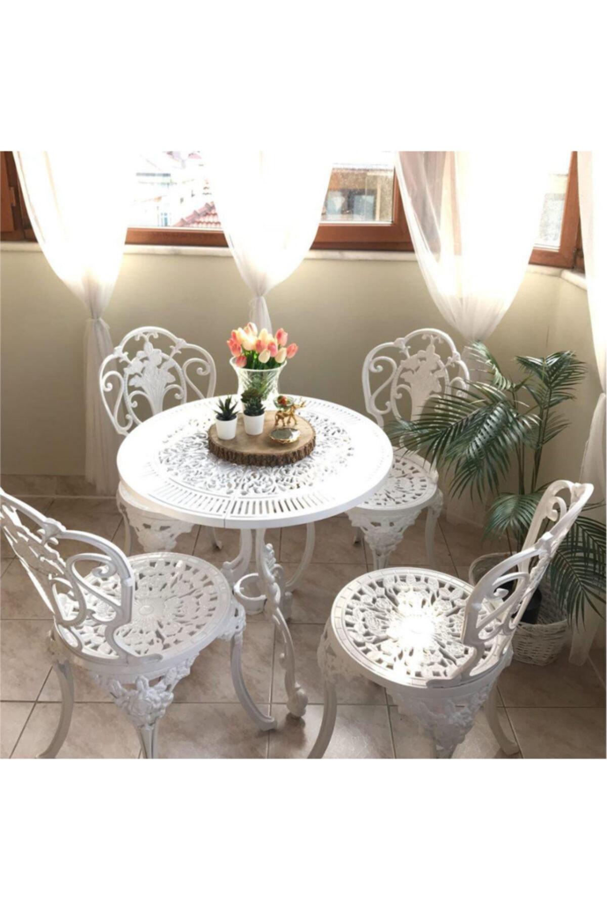 4 Kişilik Güllü Kolsuz Alüminyum Sandalye Ve 75 Cm Yuvarlak Alüminyum Masa Takımı Beyaz