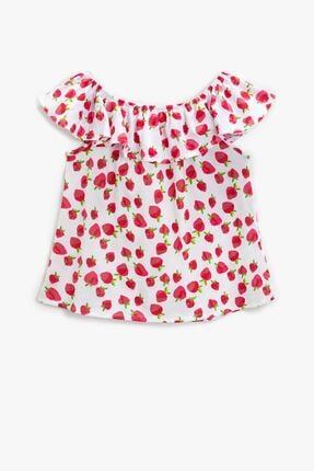 Koton Kız Çocuk Kırmızı Desenli T-Shirt 1YKG17519OK 0