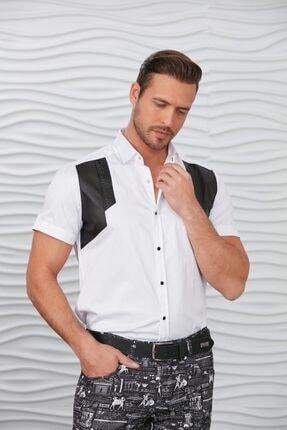 Picture of Beyaz Göğüs Aplikeli Çıtçıtlı Kısa Kol Gömlek