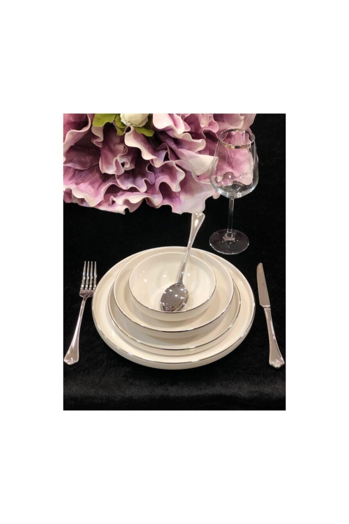 Silver Modern Gümüş 24 Parça Yemek Takımı Seti