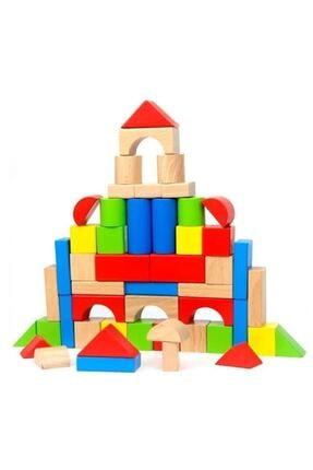ONYIL OYUNCAK Silindir Kutuda Eğitici Ahşap Oyuncak 100 Parça Renkli Bloklar 0
