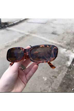 LOOKUP Unisex Kahverengi Leopar Dikdörtgen Vintage Retro Güneş Gözlüğü 1