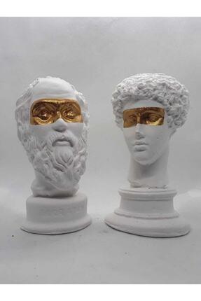 Dekor Büst Hermes + Socrates Heykel Büst Biblo 2'li 0