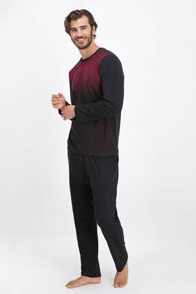 تصویر از 1087 Erkek Bordo Sıfır Yaka Pijama Takımı