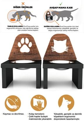 Kanguru Shopping Minnoş Kedi & Minnoş Pati Kedi & Köpek Ahşap Mama Ile Su Kabı Paslanmaz Çelik 2