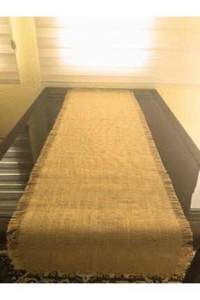 Halat Dekor Jüt Hasır Kumaş Jüt Runner 4 Kenar Saçak En:45 Cm Boy:120 Cm 2