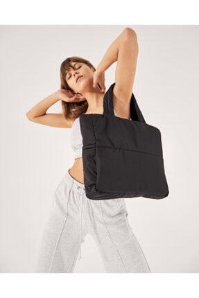 Shule Bags Kabartmalı Puf Kumaş Shopper Çanta Napoli Siyah 1