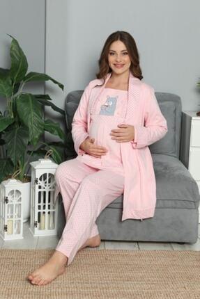 BOYRAZ Kadın Pembe Hamile Lohusa Sabahlıklı Pijama Takımı 3'lü 0