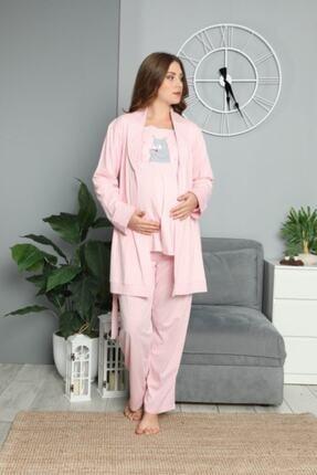 BOYRAZ Kadın Pembe Hamile Lohusa Sabahlıklı Pijama Takımı 3'lü 1