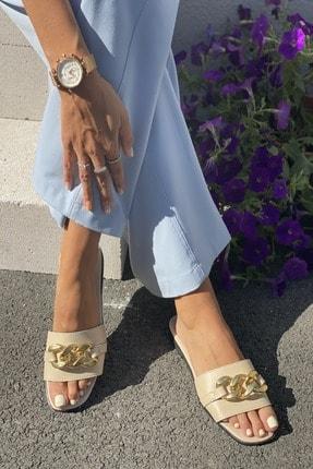 İnan Ayakkabı Kadın Bej Zincirli Terlik 0