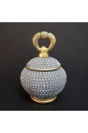 Motifli Gri Gold Antik Dekor 21x15cm TALYA-208710