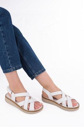 Marjin Kadın Beyaz Düz Topuklu Sandalet 1