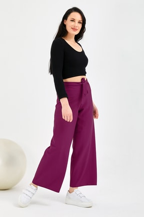 Gentekstil Kadın Fuşya Bel Lastikli Genplus Rahat Kesim Pantolon 1