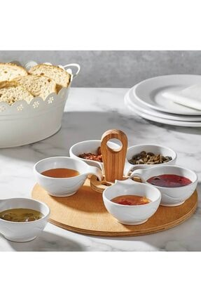 VİNİX Ahşap Tepsili Sosluk 6lı Kahvaltılık Kulplu Çerezlik 0