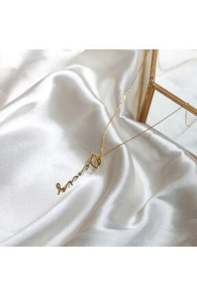 ernsilver Kadın Altın Özel Tasarım Dikey Isimli 925 Ayar Gümüş Kolye, Altın Kaplama 4