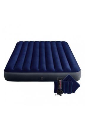 Intex Çift Kişilik Şişme Yatak + 2 Yastık + Pompa / Kamp Seti 0