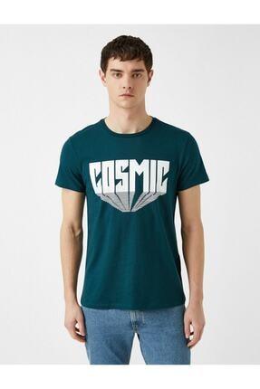 Koton Erkek Yeşil Yazı Baskılı Pamuklu Kısa Kollu Bisiklet Yaka T-Shirt 2