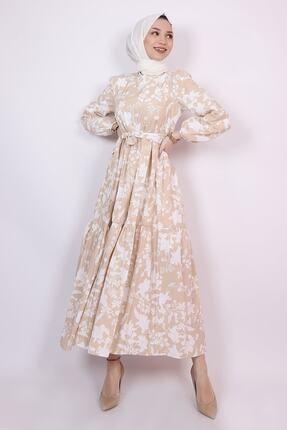 ENDERON Beyaz Çiçekli Kloş Tesettür Mevsimlik Elbise 0